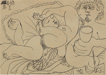 Nu couché et homme écrivant (Sleeping Nude and Man Writing)