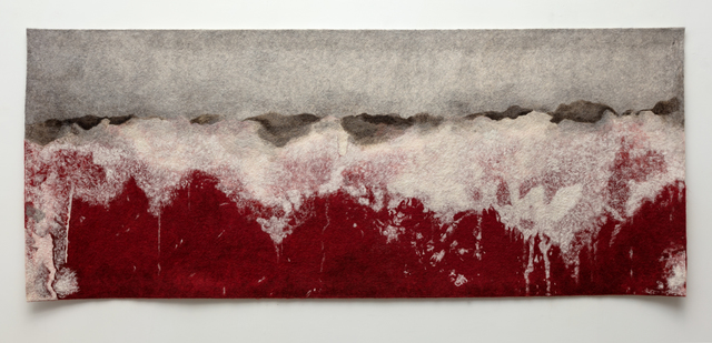 , 'Finding the Universe in Oaxaca, landscape, red ground with gray sky,' 2017, Erin Cluley Gallery