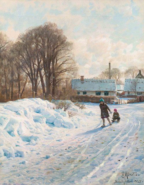 Peder Mørk Mønsted, 'Winter's Joy', 1928, Painting, Oil on canvas, Galerie Kovacek & Zetter