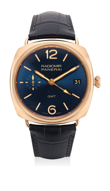 Panerai, 'A very fine and attractive pink gold limited edition wristwatch with dual time, date, certificate and presentation box, numbered 111 of a limited edition of 200 pieces', 2014, Jewelry, 18K pink gold, Phillips