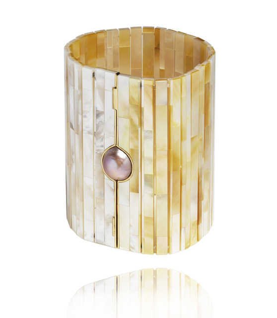 , 'Mother of Pearl Tile wide bracelet ,' 2016, Petronilla Silver