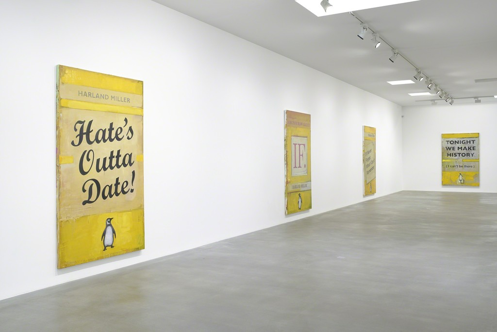 Installation View, Harland Miller, Tonight We Make History (P.S. I Can't Be There), 2016, Image courtesy the artist and Blain|Southern