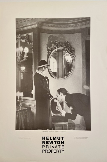 """Helmut Newton, 'Rare Limited Helmut Newton """"Private Property"""" Gallery Lithographic Poster (features the photo """"Hotel Room. Place de la Republque, Paris"""", 1976)', 1985, Posters, High Quality Lithographic Gallery Exhibition Poster, David Lawrence Gallery"""