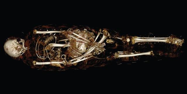 """, 'CT scan of mummy of """"Hatason"""" Egyptian, Asyut, late New Kingdom (Dynasty 20) or Dynasty 21,' 1100, Legion of Honor"""