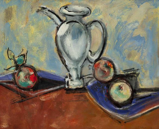 Max Weber, 'Sill Life with Pitcher and Fruit', 1950, Painting, Oil on board, Gerald Peters Gallery