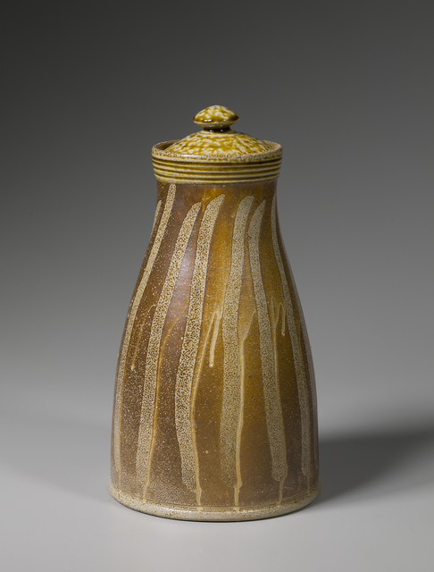 , 'Lidded jar, kaolin slip with alkaline glaze neck and lid and finger swipes,' 2016, Pucker Gallery