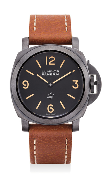 Panerai, 'A fine and rare limited edition blackened stainless steel wristwatch with certificate, guarantee and presentation box, numbered 38 of a limited edition of 300 pieces', 2010, Phillips
