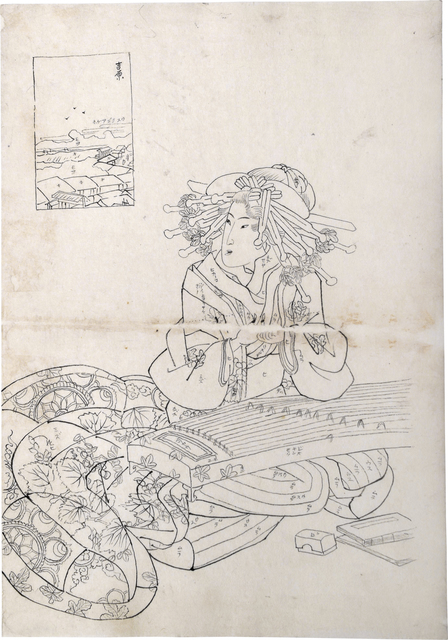 Teisai Sencho, 'Preparatory Drawing for print of Flourishing Scenes of the East: Yoshiwara, Onoyama of the Sugata-Ebiya', ca. 1830's, Drawing, Collage or other Work on Paper, Sumi ink on paper, Scholten Japanese Art