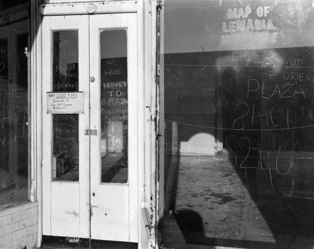 , 'Ozzie Docrat's shop after its forced closure under the Group Areas Act, Fietas. 1977,' 1977, Goodman Gallery