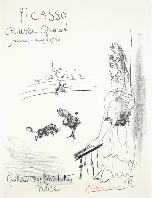 Pablo Picasso, 'Femme au balcon, Affiche 'Oeuvre Gravé' (Woman on the Balcony, Poster for Engraved Artwork)', 1960, Phillips