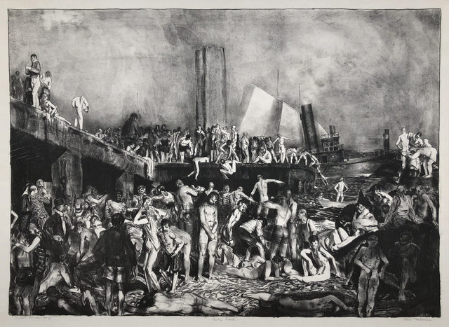 George Wesley Bellows, 'River-front', 1923-1924, Print, Lithograph on Basingwerk Parchment with full margins., Catherine E. Burns Fine Prints