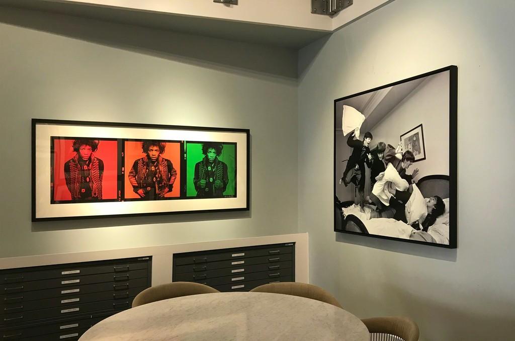 Gered Mankowitz, Jimi Stop Sign Triptych, Mason's Yard Studio, London, 1967 Harry Benson, Beatles Pillow Fight, Paris, 1964