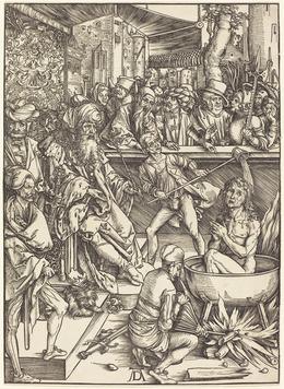 Albrecht Dürer, 'The Martyrdom of Saint John', probably c. 1496/1498, Print, Woodcut, National Gallery of Art, Washington, D.C.