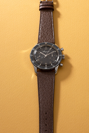 A rare and attractive stainless steel fly-back chronograph wristwatch with rotatable bezel