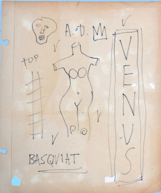 Jean-Michel Basquiat, 'Portrait of Venus', ca. 1980, Drawing, Collage or other Work on Paper, Pen on Paper, Mark West Center for the Arts