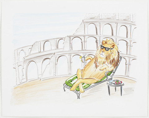 , 'Original Work On Paper - Lion Relaxing at the Colosseum ,' , ArtStar