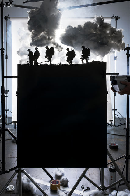 """, 'Making of """"Five Soldiers Silhouette at the Battle of Broodseinde"""" (by Ernest Brooks, 1917),' 2013, East Wing"""