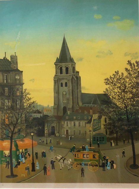 Michel Delacroix, 'Hand signed Folk Art Naive lithograph on Arches paper Paris Evening Cafe Scene', 20th Century, Lions Gallery