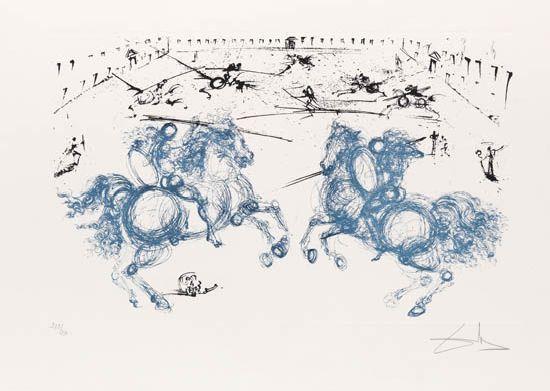 Salvador Dalí, 'Knightly Combat – Chevalier Combat - La Vida es sueno', 1971, Print, Etchings color with aquatint ; drypoint and stencil, Puccio Fine Art