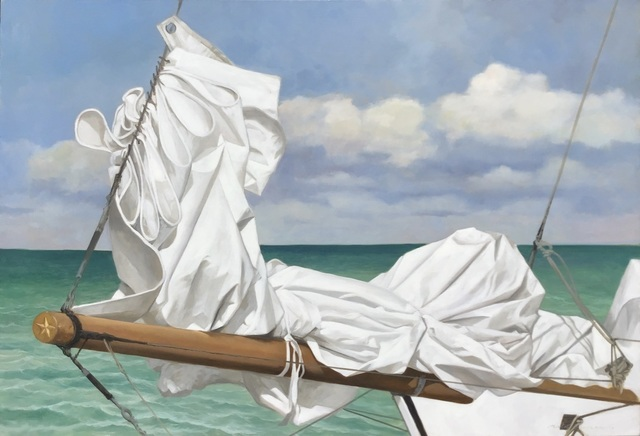 """Michel Brosseau, '""""North Star"""" photorealistic oil painting of a folded white sail with green water and clouds behind', 2019, Eisenhauer Gallery"""