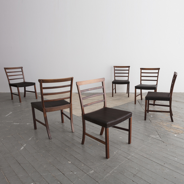 Ole Wanscher, 'Set of eight (8) Horsehair and Brazilian Rosewood Ladder Back Dining Chairs', 1940s, R & Company
