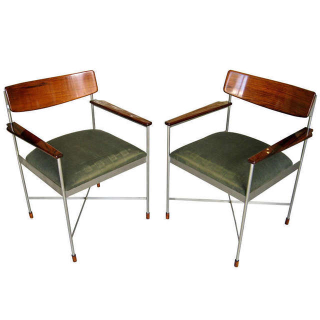 , 'Pair of Steel and Lacquered Rosewood Armchairs,' 1960s, Christopher Anthony Ltd., Inc.