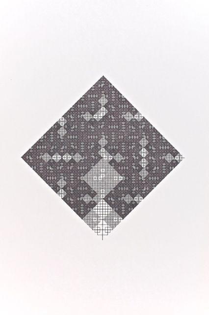 , 'Losange récursif d'une seule ligne noire, motif carré,' 1975-1977, RCM Galerie