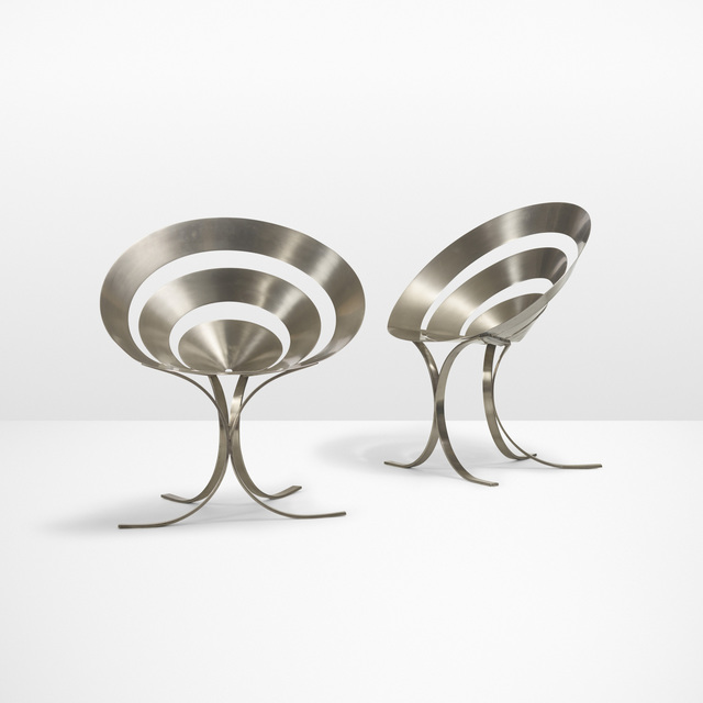 Maria Pergay, 'Important pair of Ring chairs', 1968, Design/Decorative Art, Stainless steel, Rago/Wright