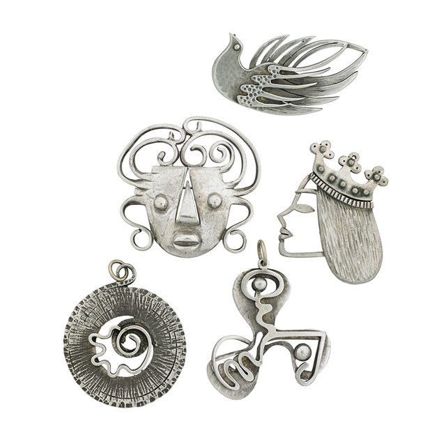 Frank Rebajes, 'Two Pendants And Three Brooches, New York', Rago/Wright