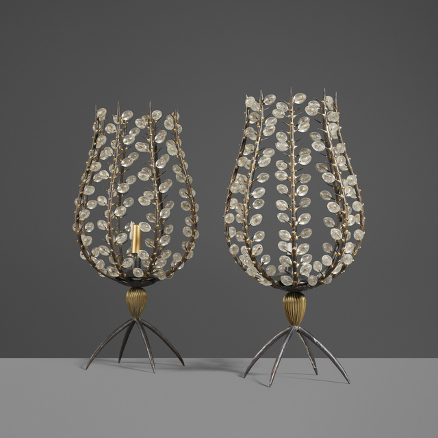 André Dubreuil, 'Custom Perles Candleholders, Pair', 1998-99, Design/Decorative Art, Wrought iron with melted brass details, crystal, brass, Rago/Wright