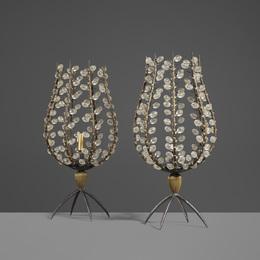 Custom Perles Candleholders, Pair