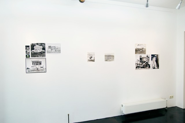 Installation overview of solo exhibition 'There is Anarchy in our Midst'. With 'Straight' (collage of b&w photography and contact sheets), 'Reforestation 01' and 'Reforestation 02' (both collages of b&w photographs and old press images). And 'Mr. Burroughs' (old press images and b&w photographs).
