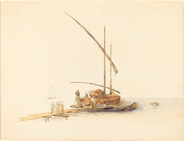 Johann Jacob Ulrich, 'Wine Barrels Loaded onto a Sailing Barge at Vevey', ca. 1850, Drawing, Collage or other Work on Paper, Watercolor over graphite on wove paper, National Gallery of Art, Washington, D.C.