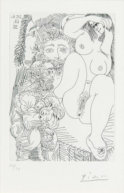 Pablo Picasso, 'Jeune courtisane avec un gentilhomme, un sculpteur et un vieillard alléché, plate 185 from 347 Gravures', 1968, Print, Etching on Rives paper with watermark, Skinner