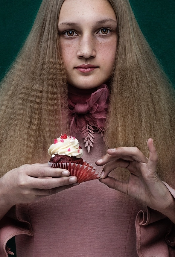 Detail of Girl with Cupcake by Shelly Mosman