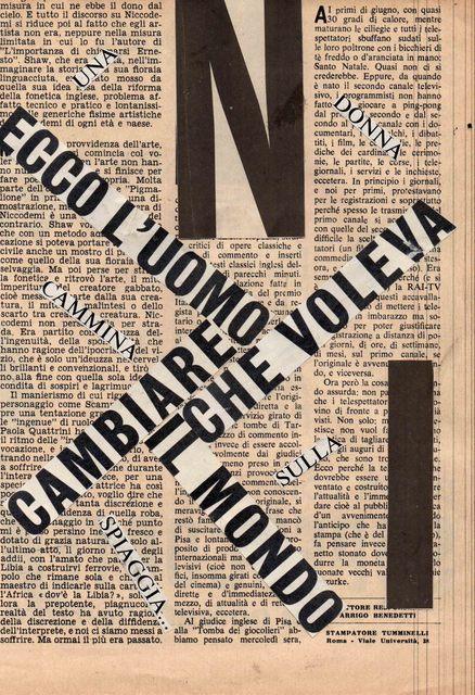 Nanni Balestrini, 'Ecco l'uomo ', 1962, Galleria Michela Rizzo