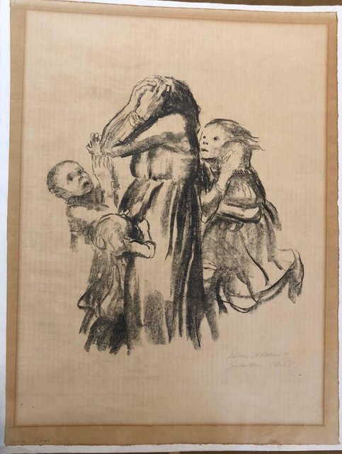 Käthe Kollwitz, 'Killed in Action 'Gefallen' Grieving Family Original Lithograph', 1920-1929, Print, Lithograph, Lions Gallery