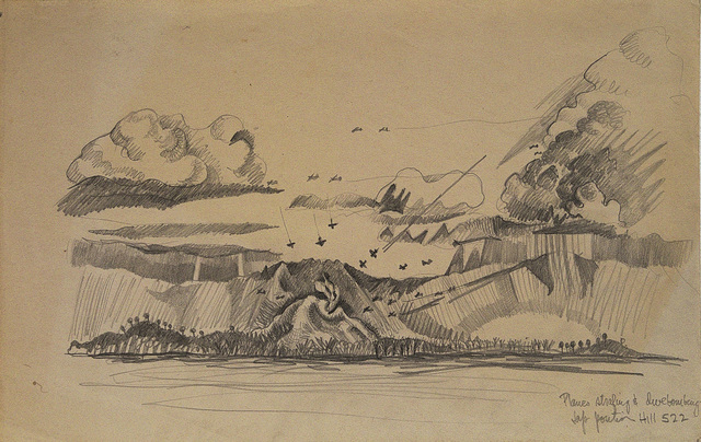 , 'Planes Stafing and Divebombing, Jap Portion of Hill 522, Battle of Leyte,' 1943, Edward Cella Art and Architecture