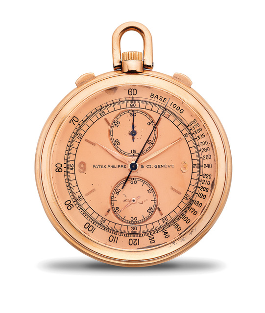 Patek Philippe, 'A fine and very rare pink gold openface chronograph pocket watch with pink dial, 30-minute register and tachometer scale', 1941, Phillips
