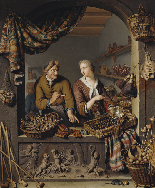 , 'An Old Man and a Girl at a Vegetable and Fish Stall,' 1732, Royal Collection Trust