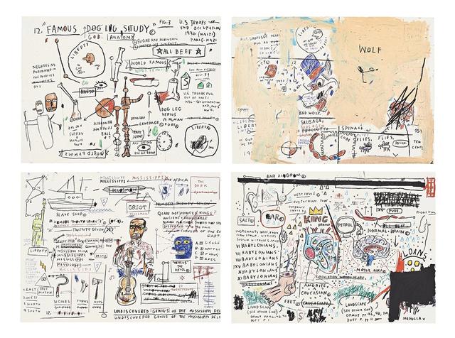 Jean-Michel Basquiat, 'Portfolio (4 Works): King Brand, Undiscovered Genius, Dog Leg, Wolf Sausage', 1982-1983, David Benrimon Fine Art