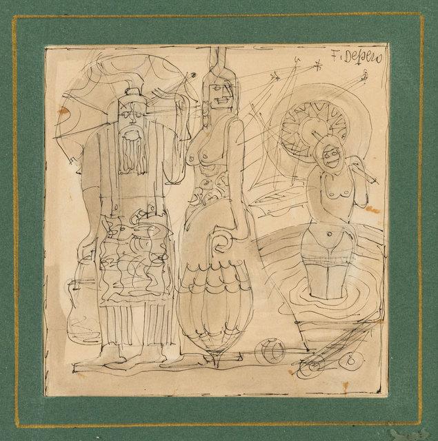 Fortunato Depero, 'Bagnanti', 1923-24 c., Mixed Media, Mixed media on cardboard, ArtRite