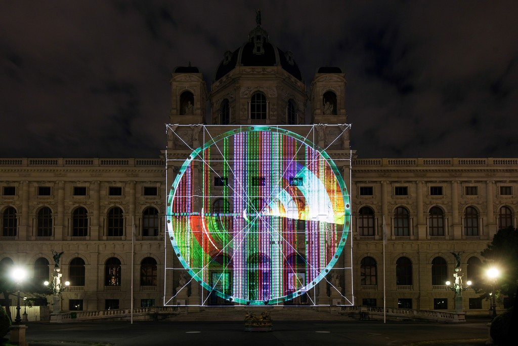 "AROTIN & SERGHEI, ""INFINITE SCREEN – The Babel Tower"", Kunsthistorisches Museum Vienna, 2016, Courtesy: museum in progress (www.mip.at)"