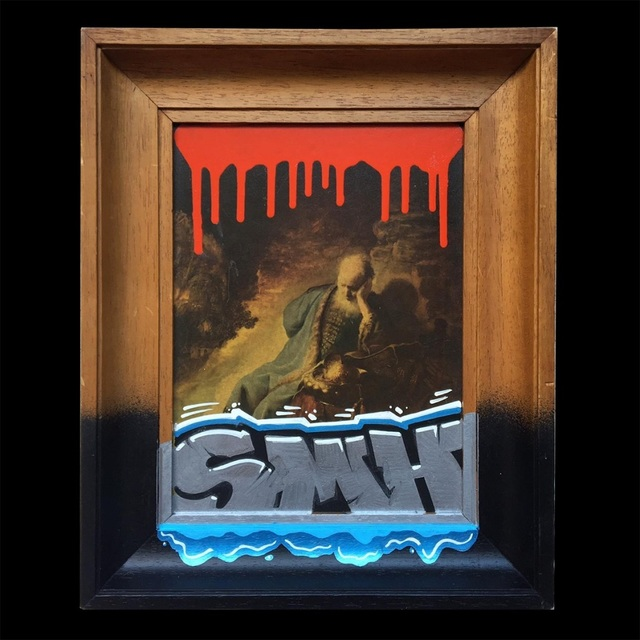 HoodKitsch, 'SMH [Shaking My Head]', 2021, Painting, Marker and spray paint on reclaimed kitsch artwork, Kalkman Gallery