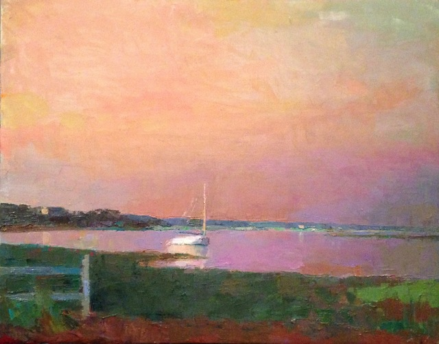 ", '""Catboat Sunrise"" oil painting of catboat in a harbor with a pink sky and reflections on the water,' 2017, Eisenhauer Gallery"