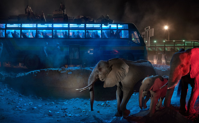 Nick Brandt, 'Bus Station with Elephants Retreating', 2018, Fahey/Klein Gallery