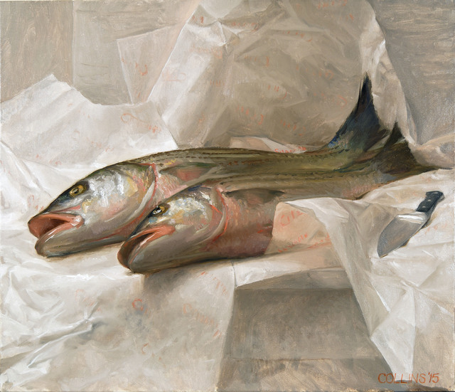 Jacob Collins, 'Striped Bass', 2015, Painting, Oil on canvas, Adelson Galleries