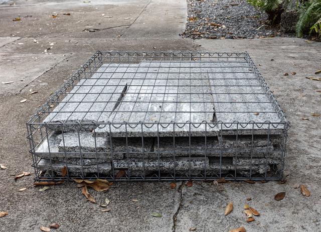 Tom Scicluna, '33138', 2021, Sculpture, Gabion cage and granite countertop, Nina Johnson