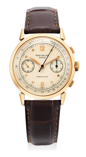 Patek Philippe, 'A very attractive and very rare pink gold chronograph wristwatch with spider lugs and tachymeter scale, retailed by Gobbi, Milano', 1956, Phillips