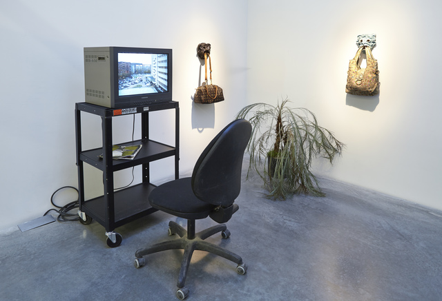 ", 'Installation view, ""Laure Prouvost: For Forgetting"",' 2014, New Museum"